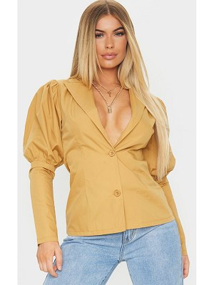 PrettyLittleThing woven puff sleeve button front shirt
