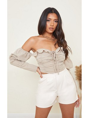 PrettyLittleThing woven ruched bardot long sleeve crop top