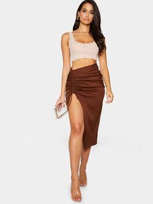 PrettyLittleThing woven ruched detail midi skirt