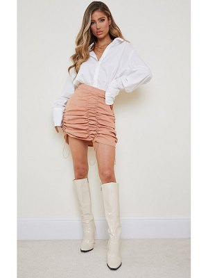 PrettyLittleThing woven ruched detail toggle mini skirt
