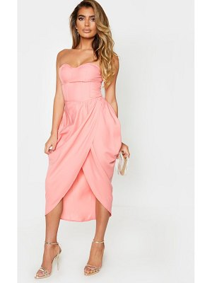 PrettyLittleThing woven ruched side midi skirt