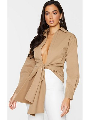 PrettyLittleThing woven ruched tie front plunge shirt