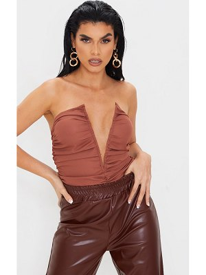 PrettyLittleThing woven ruched v wire bandeau bodysuit