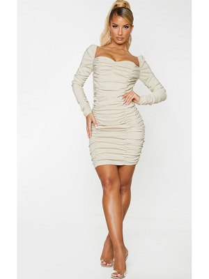 PrettyLittleThing woven stretch extreme ruched bodycon dress