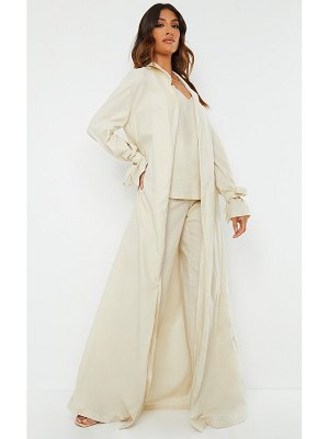 PrettyLittleThing woven tie cuff duster coat