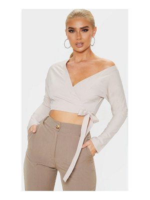 PrettyLittleThing woven tie front crop shirt