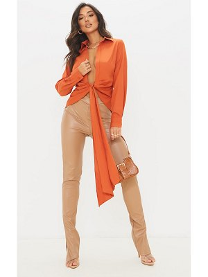PrettyLittleThing woven tie front plunge shirt