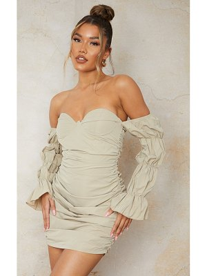 PrettyLittleThing woven underwire tiered sleeve ruched bodycon dress