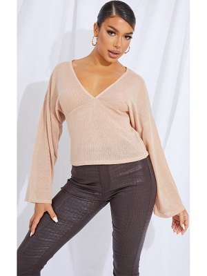 PrettyLittleThing woven v front floaty sleeve blouse