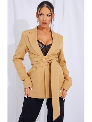 PrettyLittleThing woven wrap around belted fitted blazer