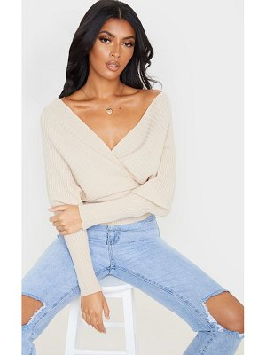 PrettyLittleThing wrap off the shoulder sweater