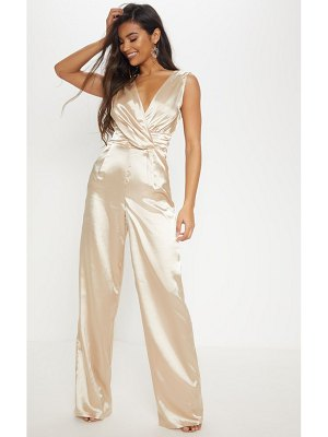 PrettyLittleThing wrap over ruched waist jumpsuit