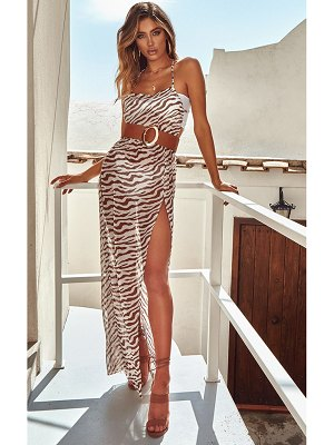 PrettyLittleThing zebra belted split beach maxi dress