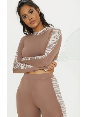 PrettyLittleThing zebra long sleeve contrast panel cropped gym top