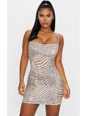 PrettyLittleThing zebra print strappy underbust binding bodycon dress