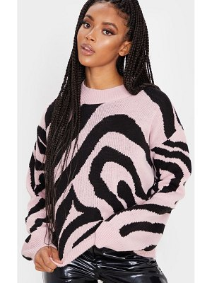 PrettyLittleThing zebra stripe high neck sweater