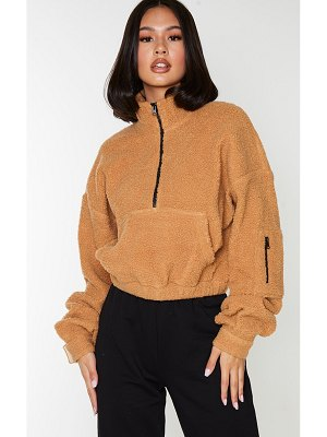 PrettyLittleThing borg zip front oversized sweater