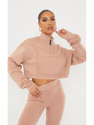 PrettyLittleThing zip tape funnel neck oversized cropped sweater