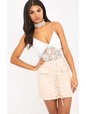 PrettyLittleThing ziva faux suede lace up mini skirt