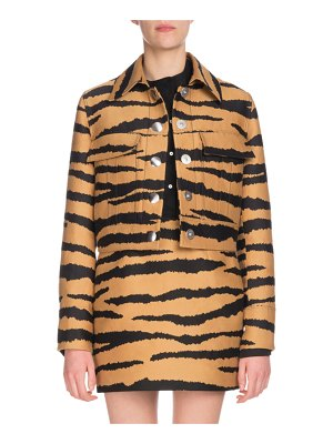 Proenza Schouler Tiger-Jacquard Snap-Front Cropped Jacket