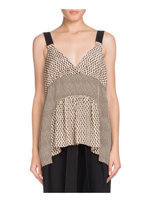 Proenza Schouler V-Neck Sleeveless Mixed-Print Silk Blouse