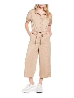 Prosperity Denim tie waist utility jumpsuit
