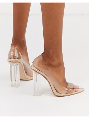 Public Desire alluring clear block heeled shoes in beige patent