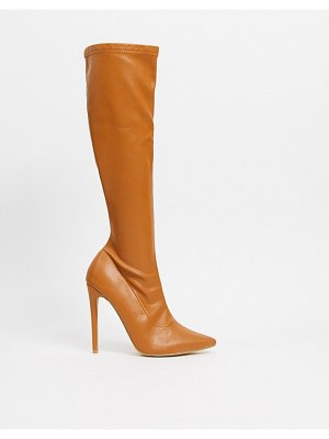 Public Desire ambition stiletto knee boot in camel-beige