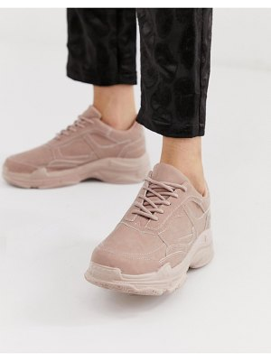 Public Desire blend pink color drenched chunky sneakers