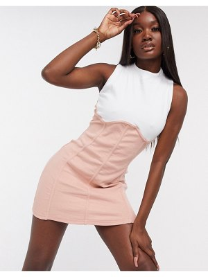 Public Desire bodycon mini dress with contrast mini seam-pink