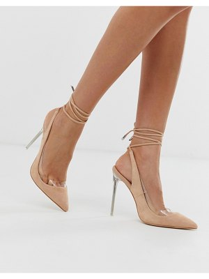 Public Desire clarity blush clear heel ankle tie pumps