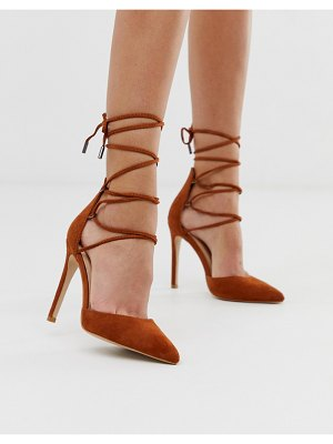 Public Desire classy tan ankle tie heeled shoes