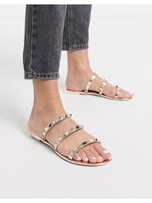 Public Desire cosmic studded flat jelly sandals in rose gold