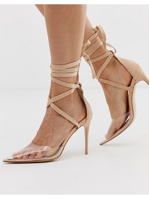 Public Desire devote beige ankle tie pointed heeled shoes
