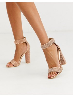 Public Desire drippin crystal block heeled sandal in rose gold