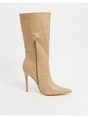 Public Desire estelle pull on boots in bone croc-stone