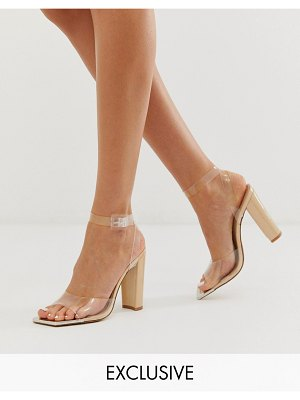 Public Desire exclusive definition square toe cap sandal in beige patent