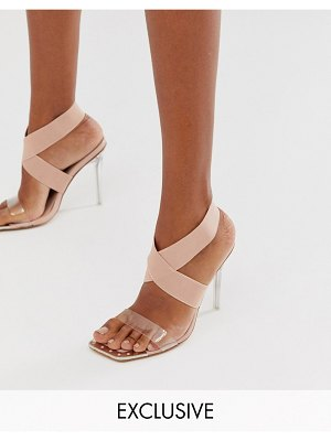 Public Desire exclusive only elastic perspex heeled sandal in beige