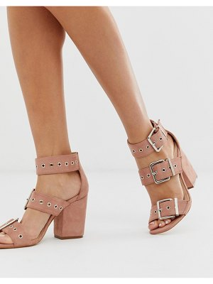 Public Desire gimme blush buckle detail heeled sandals-beige
