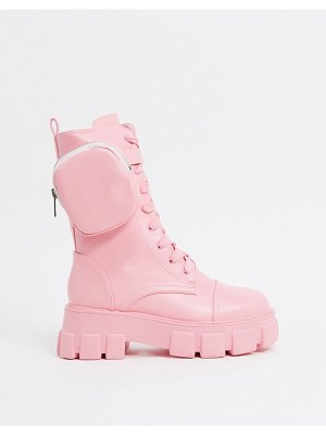 Public Desire intention chunky calf boot with pouch in pastel pink