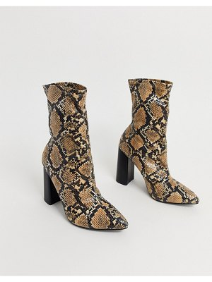 Public Desire libby heeled ankle boot in natural snake-beige