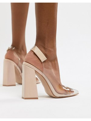 Public Desire lure nude clear detail block heeled shoes