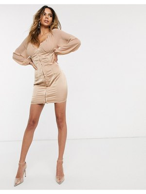 Public Desire mini dress with hook and eye detail in satin-beige