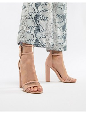 Public Desire mission dusty pink clear strap block heeled sandals