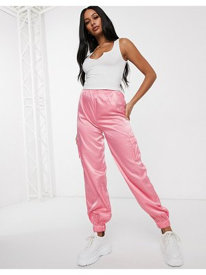 Public Desire oversized cuffed cargo pants in satin-pink