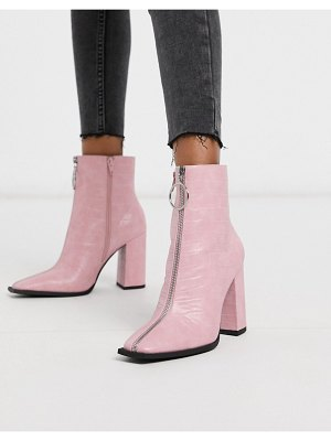 Public Desire payback ankle boot with zip detail in pink