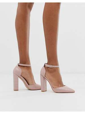 Public Desire sofia blush croc block heeled shoes