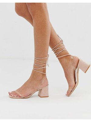 Public Desire tomorrow blush ankle tie mid heeled sandals