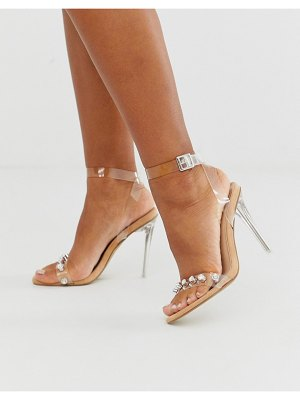Public Desire tonight crystal detail clear stiletto heeled sandal-beige