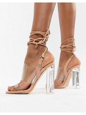 Public Desire trance blush clear detail sandals